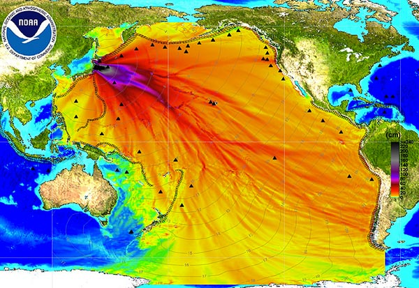 Ausbreitung der Tsunamiwelle